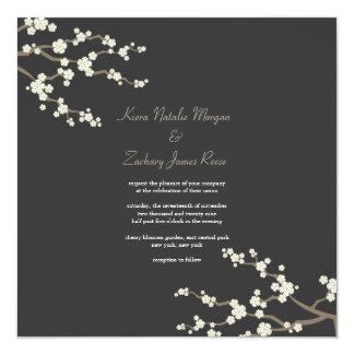 White Cream Sakura Cherry Blossoms Wedding Invite