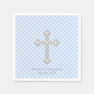 White Cross Blue Christening Paper Napkins