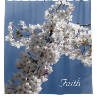 White Cross on Blue Sky Custom Shower Curtain