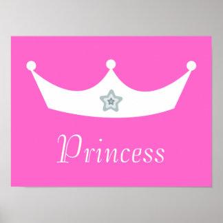 White Crown Pretty Pink Princess Customizable Poster