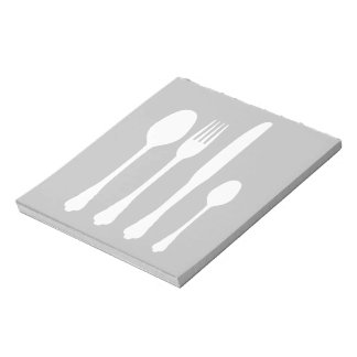 White Cutlery on Black Cafe Patisserie Restaurant Notepad
