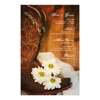 White Daisies Cowboy Boots Country Western Wedding Stationery