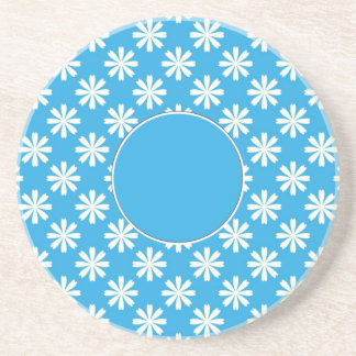 White daisies on baby blue background coaster