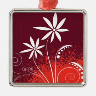 White Daisies on Red and Orange Christmas Ornaments