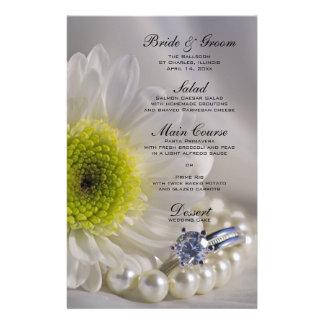 White Daisy and Diamond Ring Wedding Menu