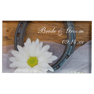 White Daisy and Horseshoe Country Western Wedding Table Card Holder