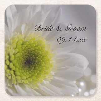 White Daisy and Pearls Wedding Square Paper Coaster
