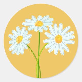 White Daisy Flower Orange Note Card Round Sticker