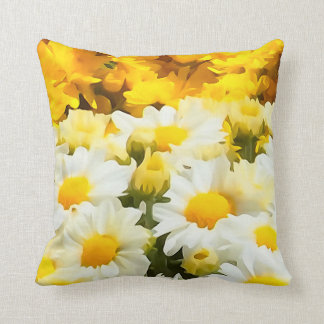 White Daisy Flower Throw Pillow