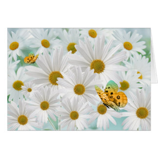 White Daisy Garden with Golden Butterflies Blank Note Card