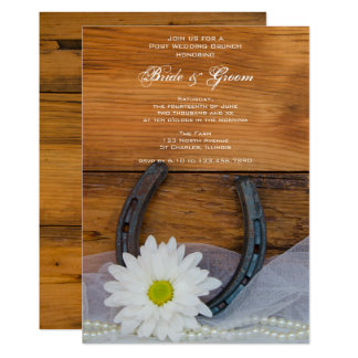 White Daisy Horseshoe Western Post Wedding Brunch Card