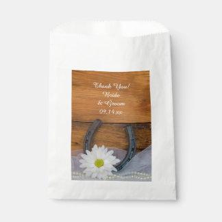 White Daisy Horseshoe Western Wedding Thank You Favour Bags