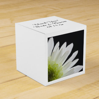 White Daisy on Black Wedding Favour Box