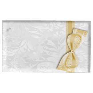 White Damask and  Gold Faux Bow Table Card Holders