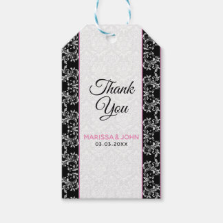 White Damask Black Border Gift Tags