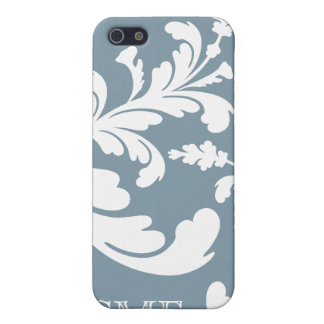 White Damask Floral Monogram on Steel Blue iPhone 5/5S Cases