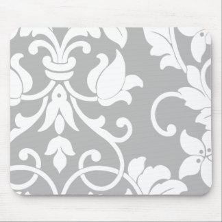White Damask on Gray Mouse Pads