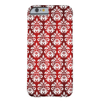 White damask on red Christmas Barely There iPhone 6 Case