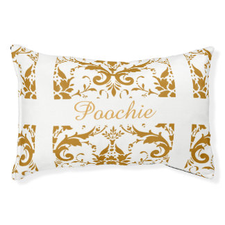 White Damask personalized dog bed
