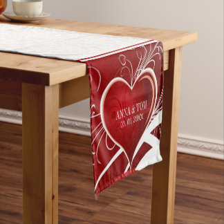 White Damask Red Hearts Short Table Runner
