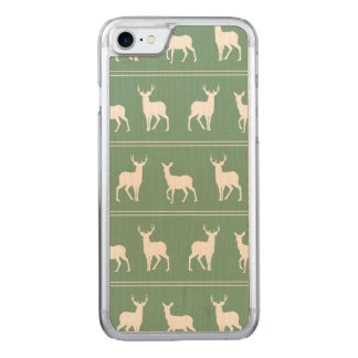 White Deer and Stag pattern on Acapulco Green Carved iPhone 8/7 Case