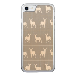 White Deer and Stag pattern on Grey Carved iPhone 8/7 Case