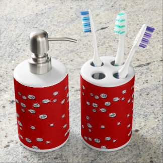 White Diamonds & Lipstick Red Bathroom Set