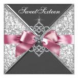 White Diamonds Pink Black Sweet 16 Birthday Party 13 Cm X 13 Cm Square Invitation Card