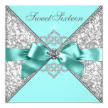White Diamonds Teal Blue Sweet 16 Birthday Party Personalised Invitations