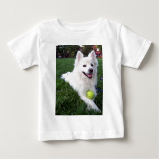 white dog with ball infant T-Shirt