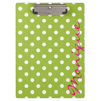 white dots over green spring background clipboard