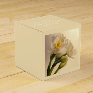 White Double Daffodils Spring Wedding Favour Box