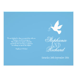 White dove with blue ribbons Wedding Programme
