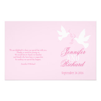 White doves light pink ribbon Wedding Programme