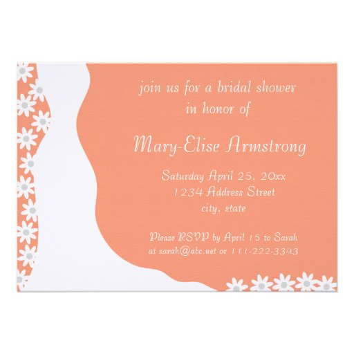 White Dress Bridal Shower Coral Invitation