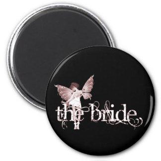 White Dress Fairy Red - The Bride Fridge Magnets