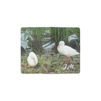 White ducks at a pond pocket moleskine notebook
