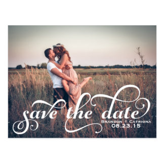 White Fancy Script Photo Save the Date Postcard