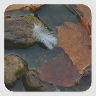 White Feather Square Sticker