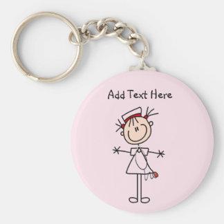 White Female Stick Figure Nurse 2 Gifts Key Ring