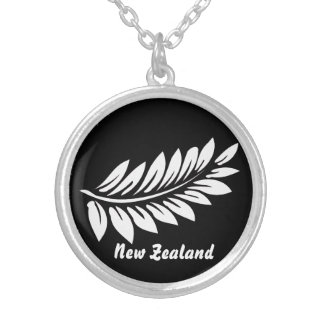 White fern leaf silver plated necklace