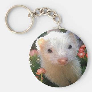 white ferret key ring