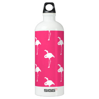White Flamingo on Neon Hot Pink Water Bottle