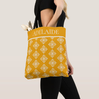White Fleur De Lis on Pumpkin Pie Personalized Tote Bag