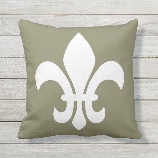 White Fleur de Lys Your Choice Background Color Cushion