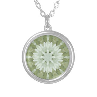 white floral abstract engagement wedding home art silver plated necklace