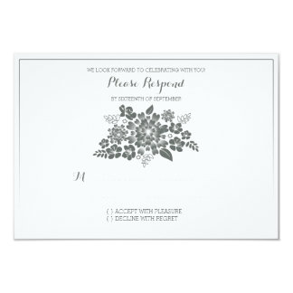 White Floral Chalkboard Vintage Wedding RSVP 3.5x5 Paper Invitation Card