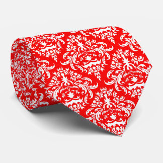 White Floral Damask Over Red Background Tie