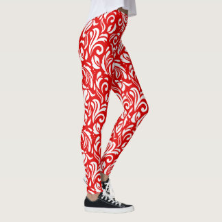 White Floral Damasks On Red Leggings