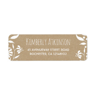 White Floral Vintage Elegant Wedding Return Address Label